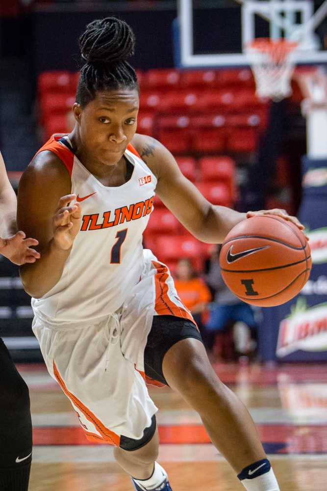Illinois' Brandi Beasley (1) drives to the basket during the game against Wake Forest at State Farm Center on Wednesday, November 30. The Illini lost 79-70.