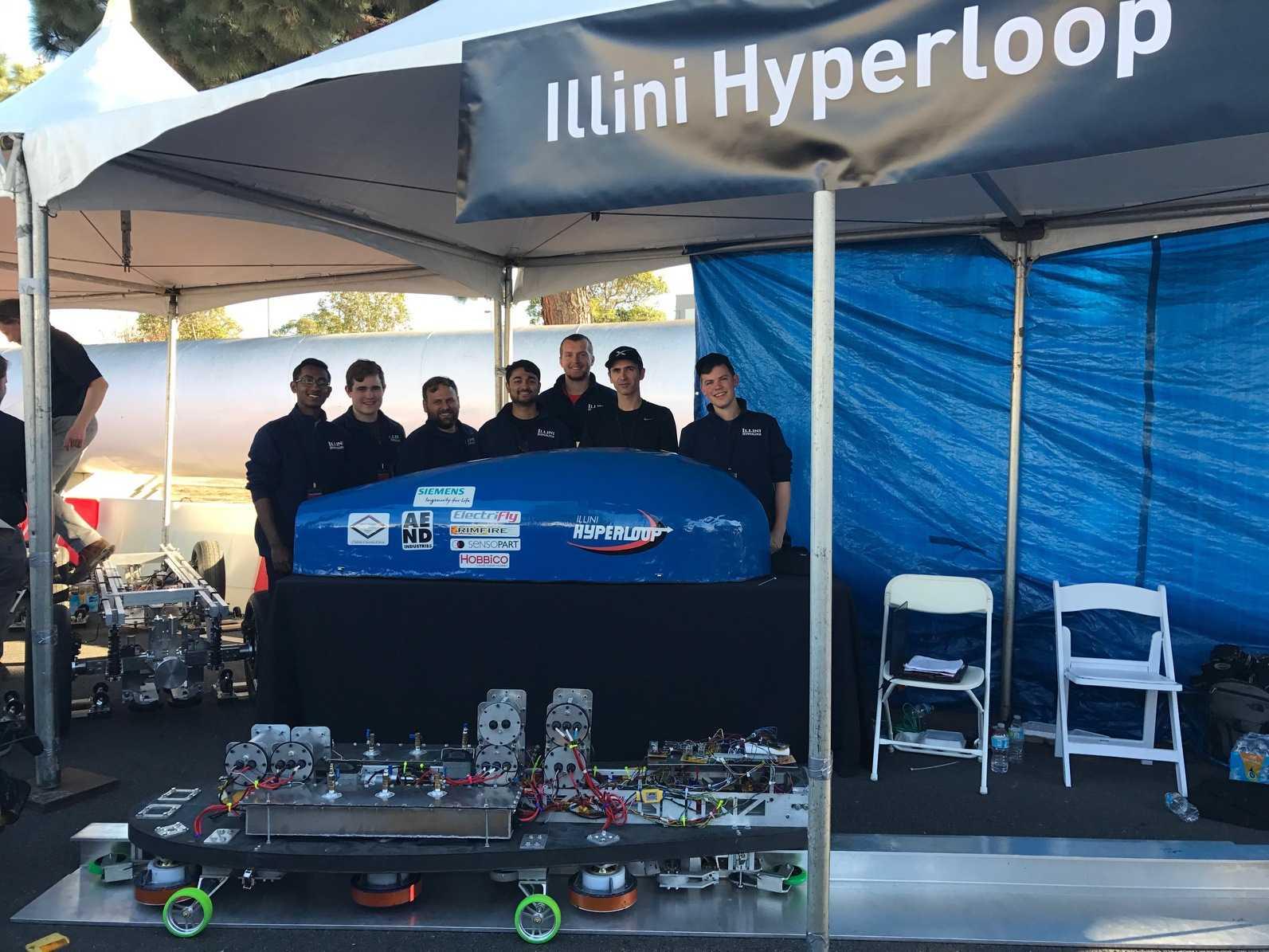 Illini Hyperloop team demonstrates levitation on Quad Day in August.