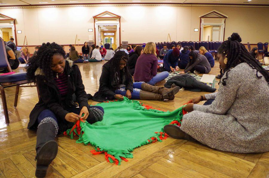 Students participated in service projects, such as blanket making, for MLK Service Day on Jan. 16th in the Illini Union.