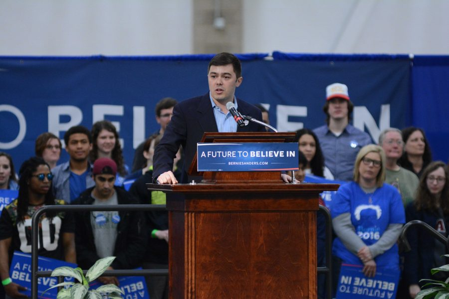 Former member and cofounder of Illini for Bernie, Matthew Pasquini speaks at the rally at the ARC last March.