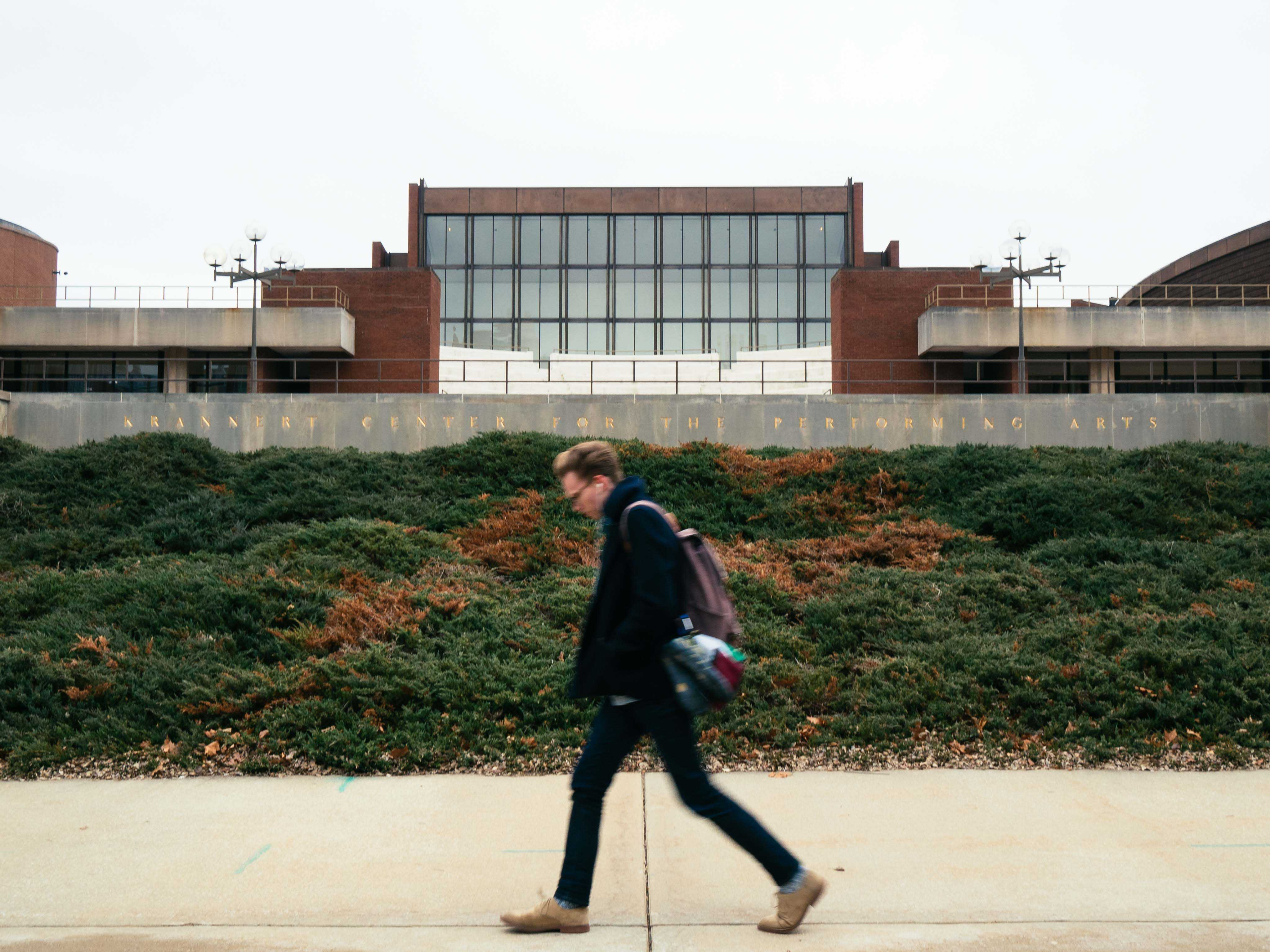 A student walks past the Krannert Center for the Performing Arts on Friday, Jan. 27, 2017.