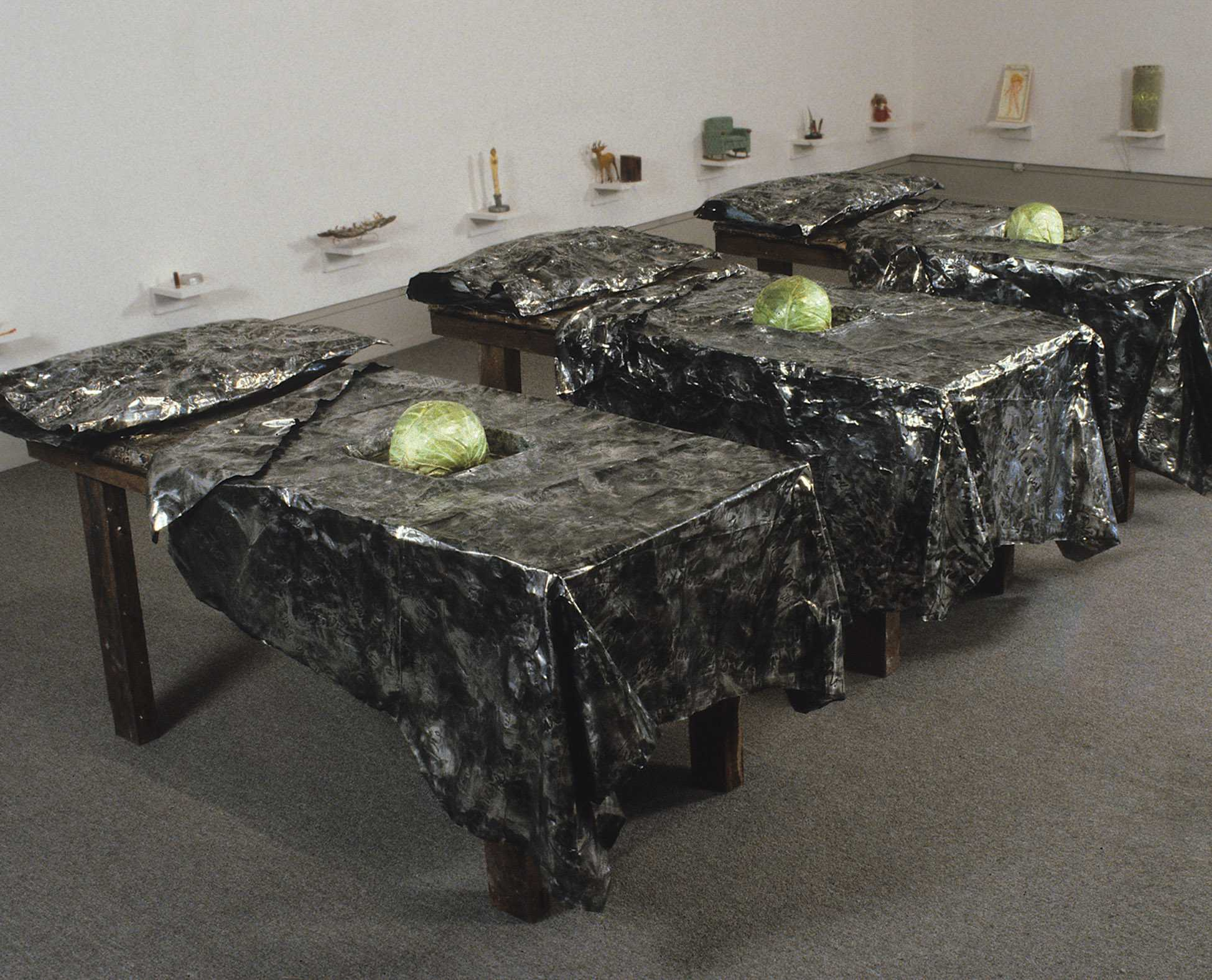 Beds and pillows made out of aluminum foiled was created by Jane Gilmor for an art exhibit called