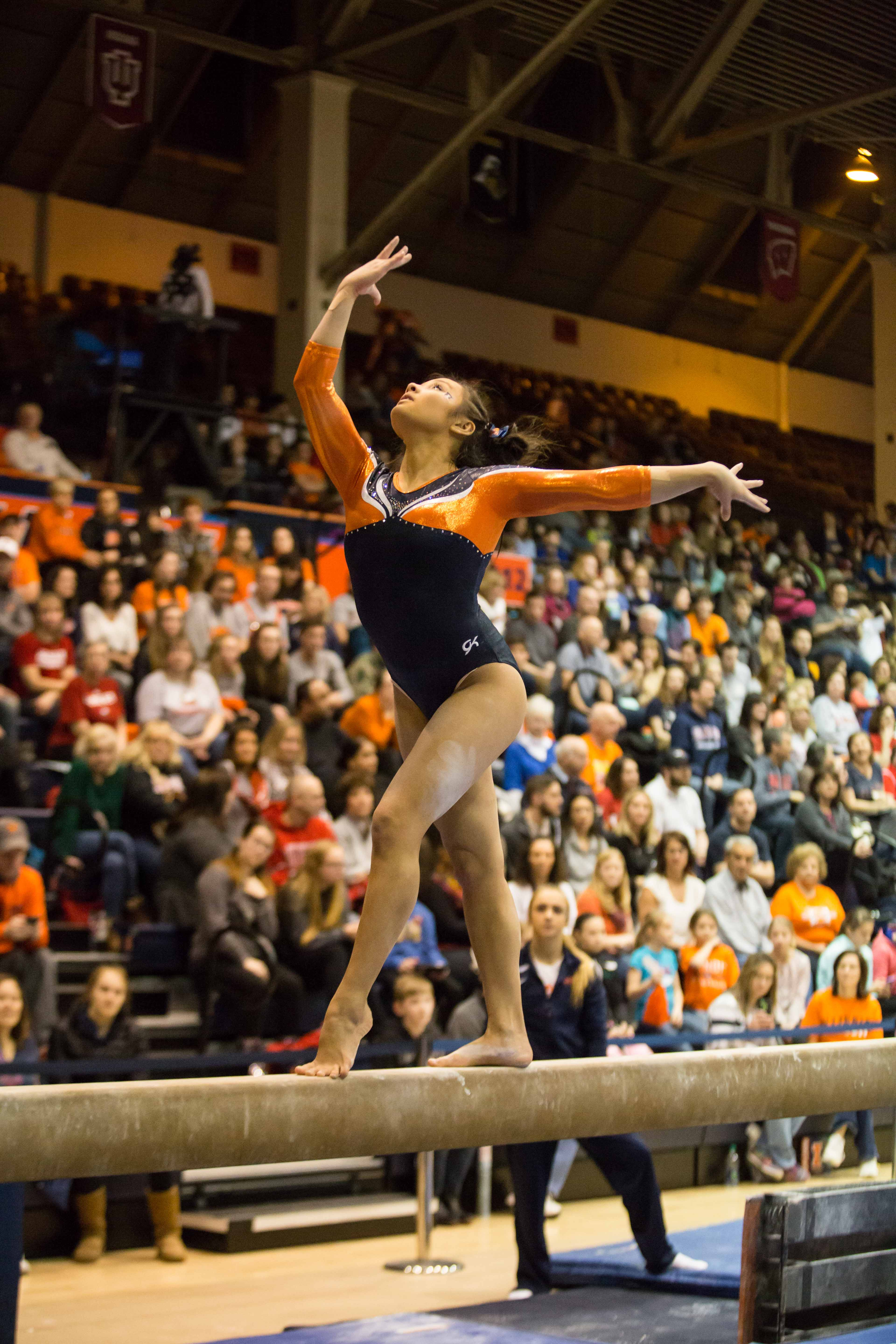 Illinois' Lizzy LeDuc performs a routine on the balance beam during the State of Illinois Classic at Huff Hall on March 5, 2015.  LeDuc was named Big Ten Gymnast of the Week for her performance in the Illini's home opening meet. It is her second time earning the honor.