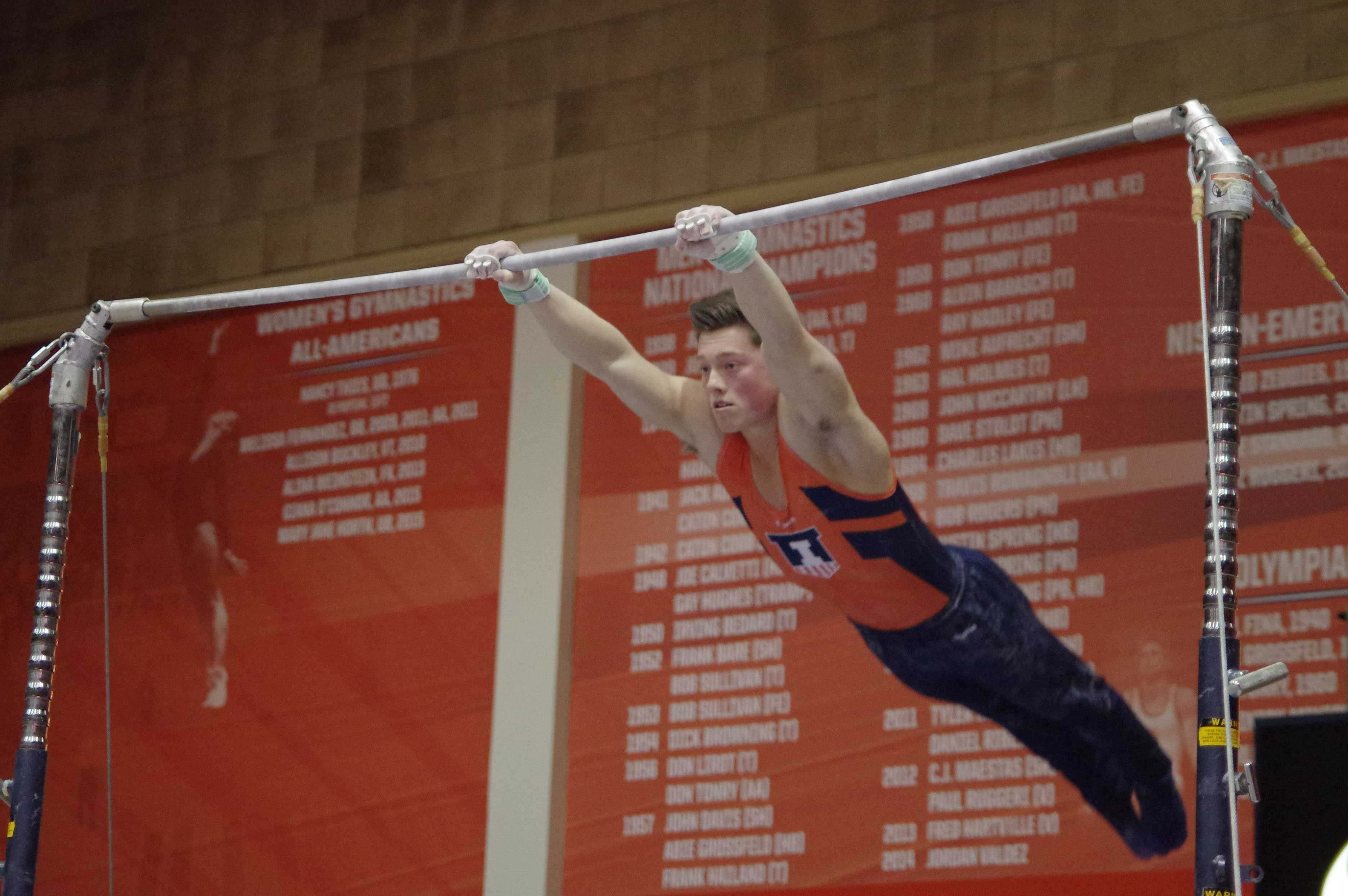 Illinois' Alex Diab performs his routine at the meet against Michigan on March 12, 2016.