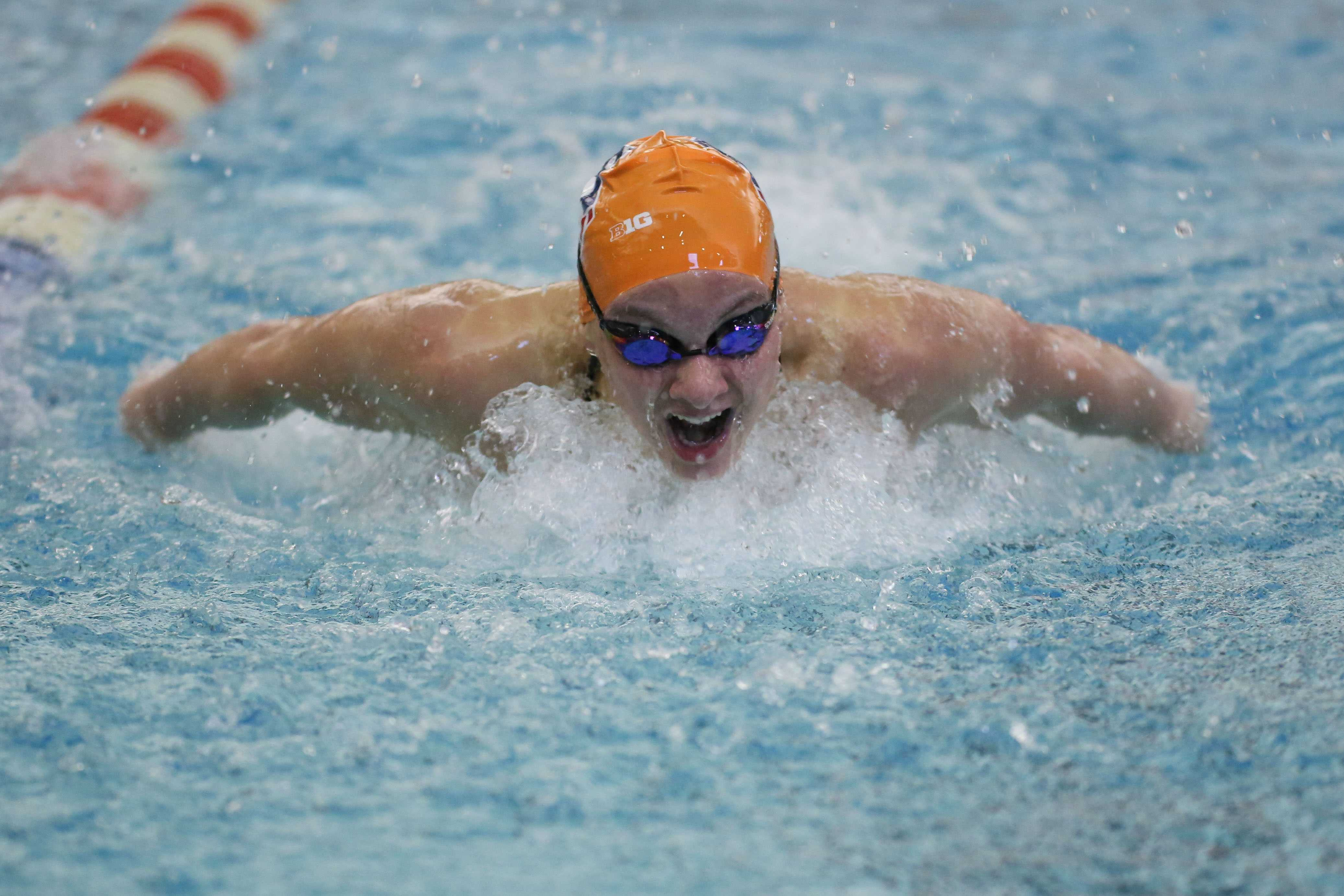 llinois' Gabbie Stecker swims the 100 yard butterfly event during the meet against Nebraska at the ARC on Jan. 24, 2015. Stecker competed in her last home meet as an Illini this weekend.