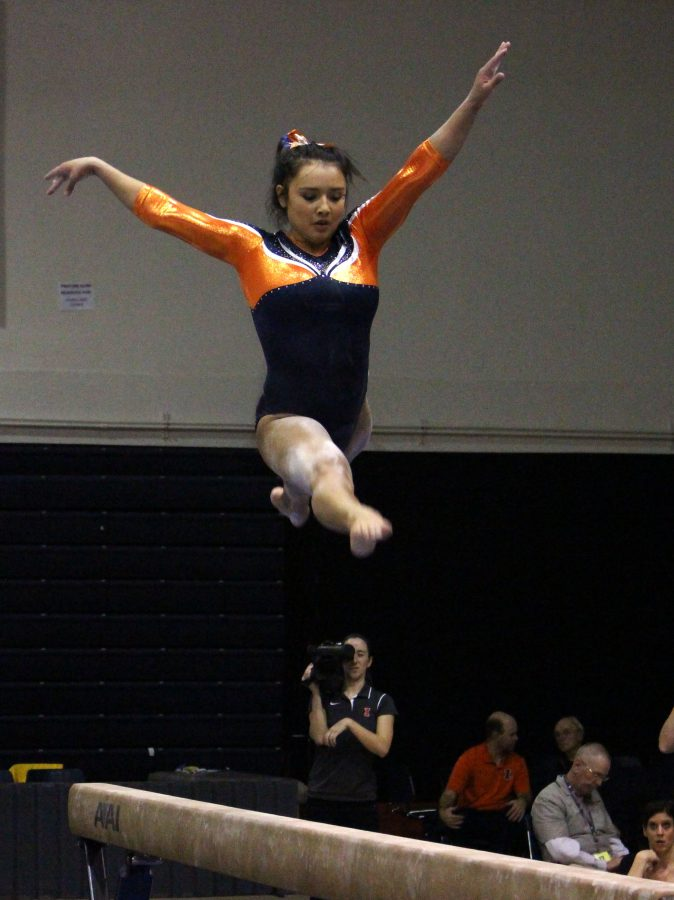 Lizzy LeDuc on the balance beam during the match against Michigan at Huff Hall on January 22, 2016. She was recently named Big Ten Gymnast of the Week and she dominated the all-around Sunday.