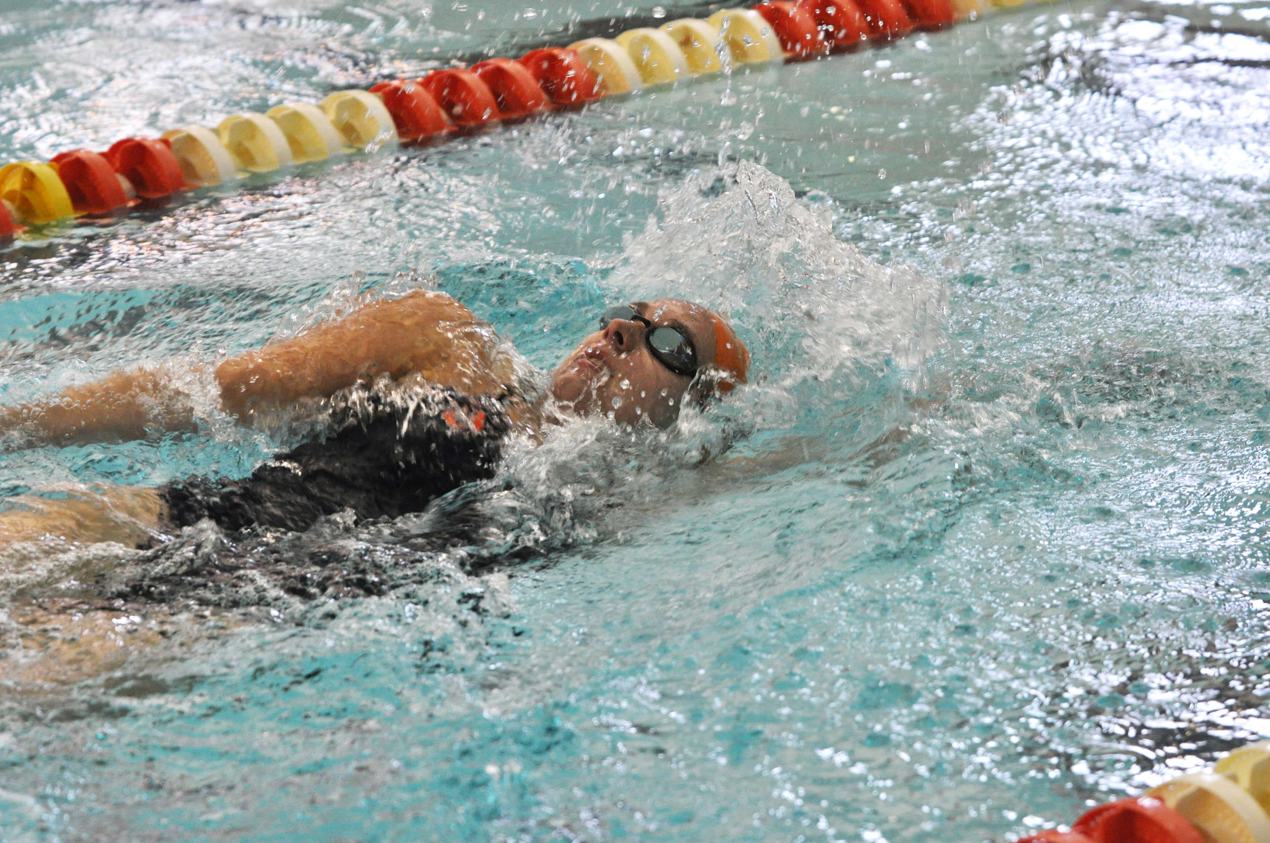 Sam Stratford, sophomore, swims backstroke in the 400 yard IM at the Fighting Illini Dual Meet Spectacular in the ARC Pool on October 16, 2015. Stratford claimed the 200 IM individual first-place honors against Iowa State.
