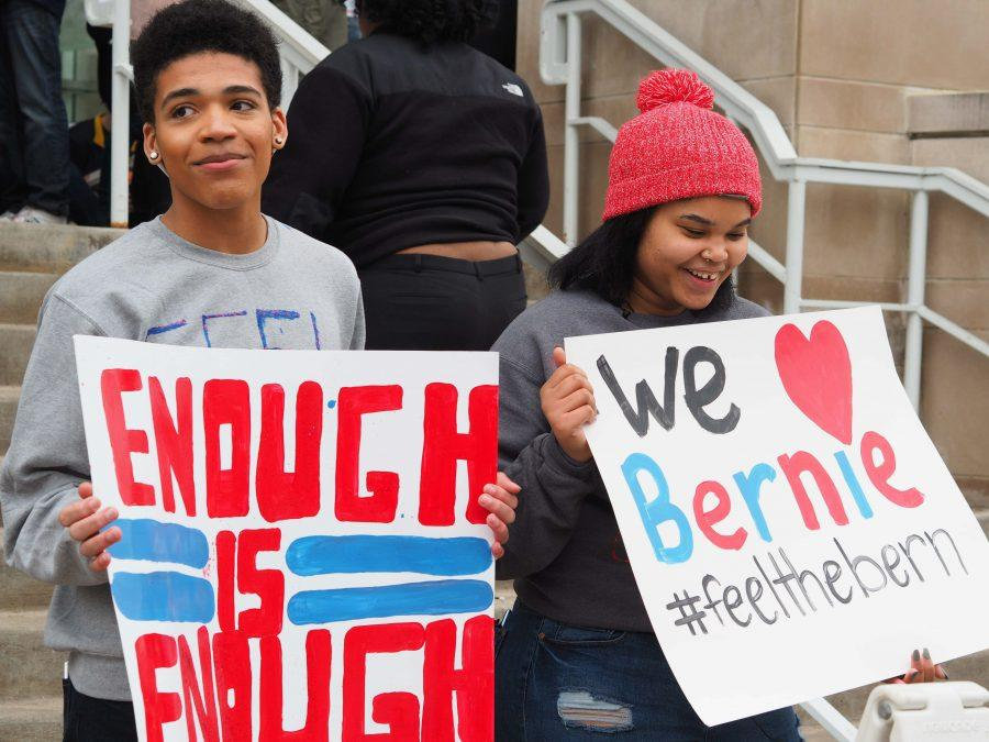Bernie supporters stand outside the ARC during his visit last March.