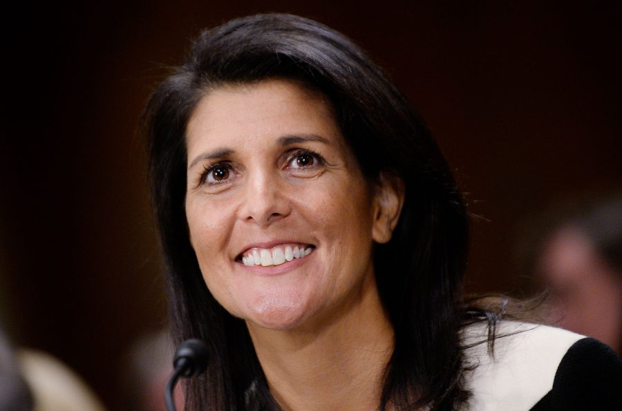 South Carolina Gov. Nikki Haley, President Trump's pick for U.S. ambassador to the United Nations, is confirmed by a 96-4 vote in the the Senate on Tuesday, Jan. 24, 2017, in Washington, D.C.