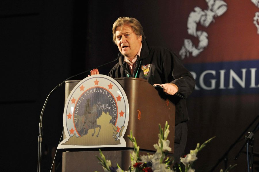 Award winning filmmaker Stephen Bannon introduces his Tea Party movie trilogy at the Virginia Tea Party Convention held at the Richmond Convention Center on Oct. 8, 2010 in Richmond, Va. Bannon was just named the Breitbart News executive chairman Chief Executive of Donald Trump's campaign. (Tina Fultz/Zuma Press/TNS)