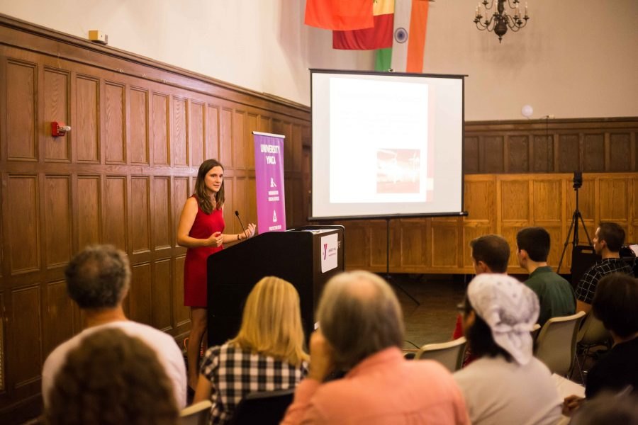 The University YMCA holds lectures every Friday featuring a speaker. Jennifer Walling, the executive director of IL Environmental Council, gave a talk about the Politics of Climate Change on September 16, 2016.