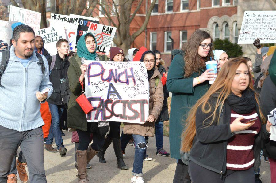 Students and community members gathered in protest of President Trump's recent executive order banning the immigration of people from seven Middle Eastern countries.