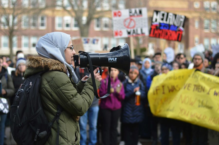 Students+and+community+members+gathered+in+protest+of+President+Trump%27s+recent+executive+order+banning+the+immigration+of+people+from+seven+Middle+Eastern+countries.
