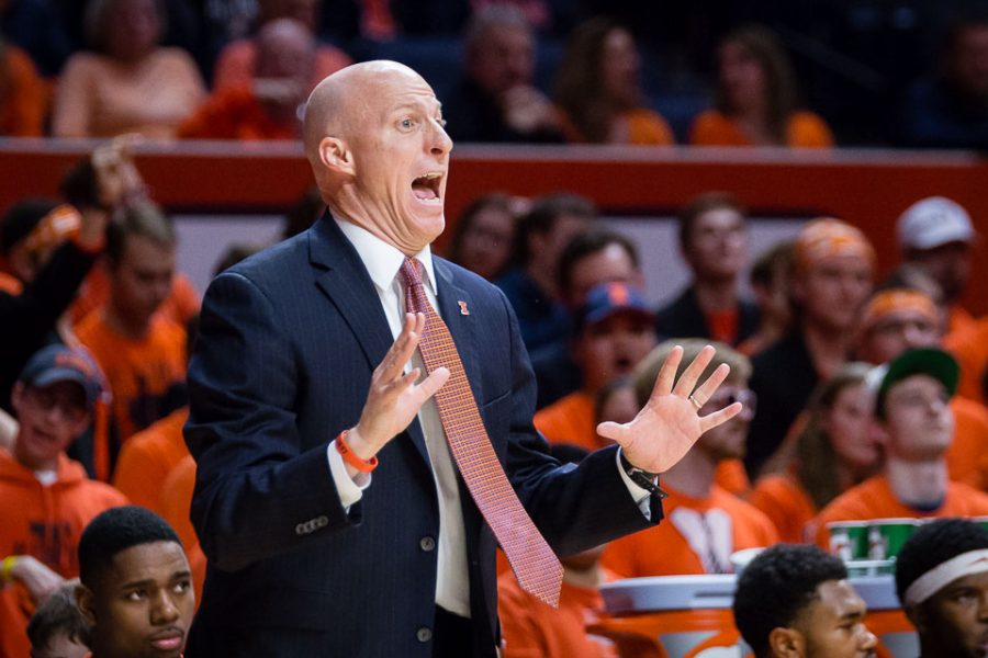 Illinois head coach John Groce shouts instructions to his team from the sideline during the game against Iowa at State Farm Center on Wednesday, January 25.
