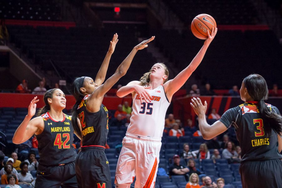 Illinois%27+Alex+Wittinger+%2835%29+goes+up+for+a+layup+during+the+game+against+Maryland+at+State+Farm+Center+on+Thursday%2C+January+26.