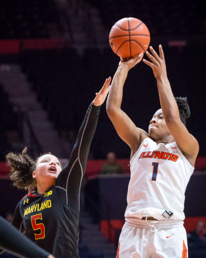 Illinois%27+Brandi+Beasley+%281%29+takes+a+pull+up+jumper+during+the+game+against+Maryland+at+State+Farm+Center+on+Thursday%2C+January+26.