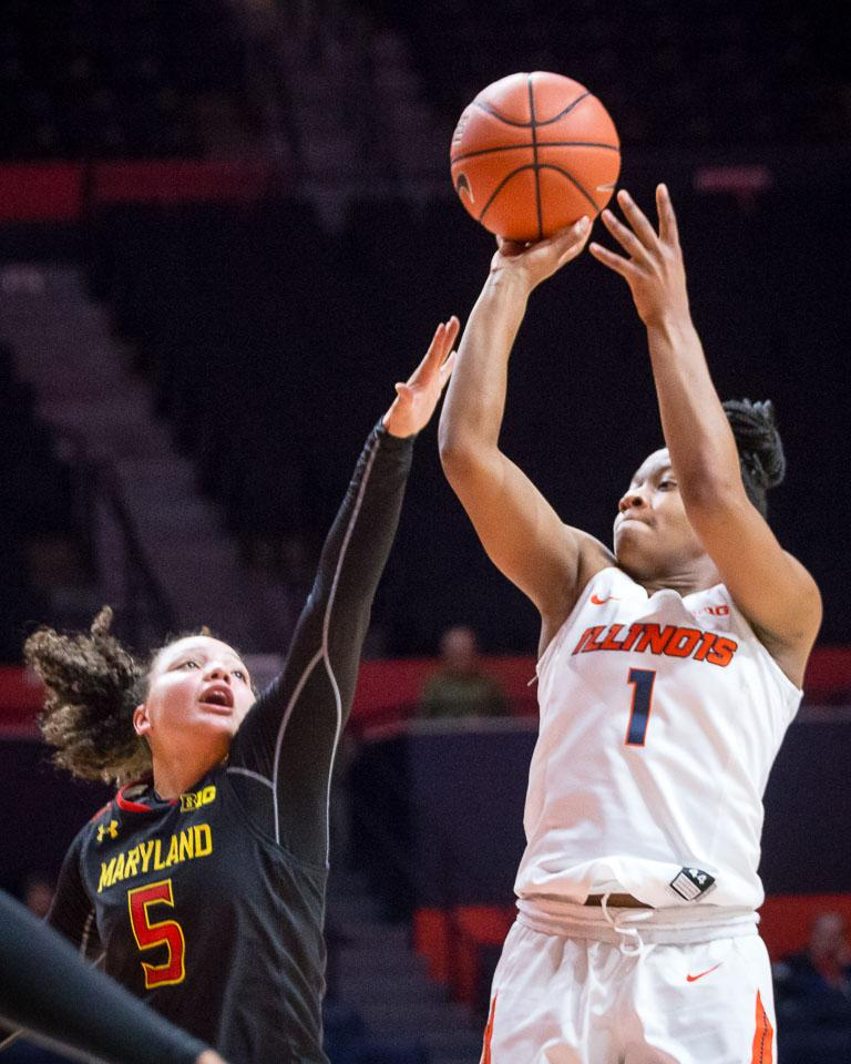 Illinois' Brandi Beasley (1) takes a pull up jumper during the game against Maryland at State Farm Center on Thursday, January 26.