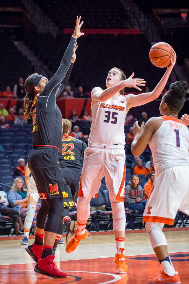 Illinois' Alex Wittinger goes up for a layup during a game against Maryland at State Farm Center on Thursday, January 26. Illinois lost