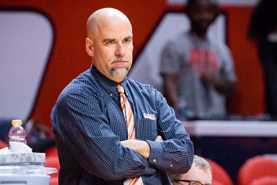 Illinois head coach Matt Bollant watches his team from the sideline during the game against Maryland at State Farm Center on Thursday, January 26.