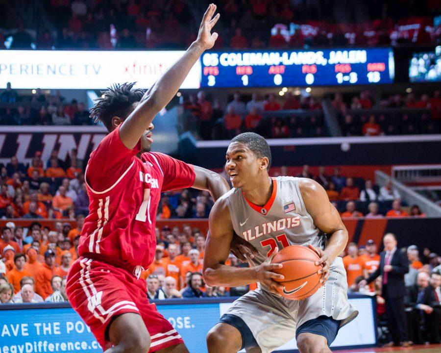 Illinois' Malcolm Hill drives to the basket during the game against Wisconsin at State Farm Center on Tuesday.