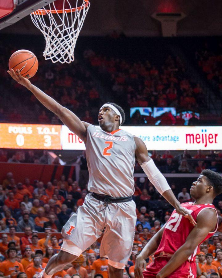 Illinois' Kipper Nichols (2) goes up for a layup during the game against Wisconsin at State Farm Center on Tuesday, January 31. The Illini lost 57-43.