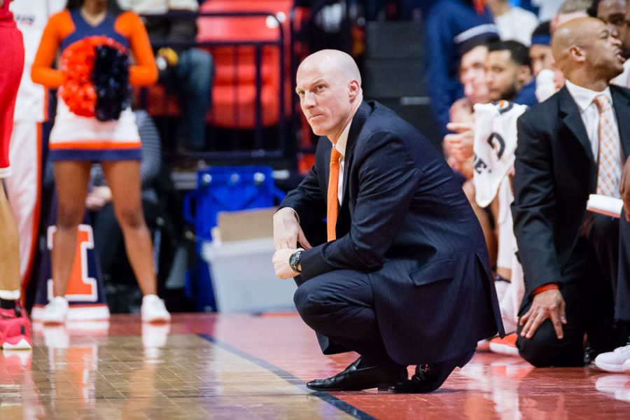 Illinois head coach John Groce watches his team from the sidelines during the game against Ohio State at State Farm Center on Sunday, January 1. The Illini won 75-70.