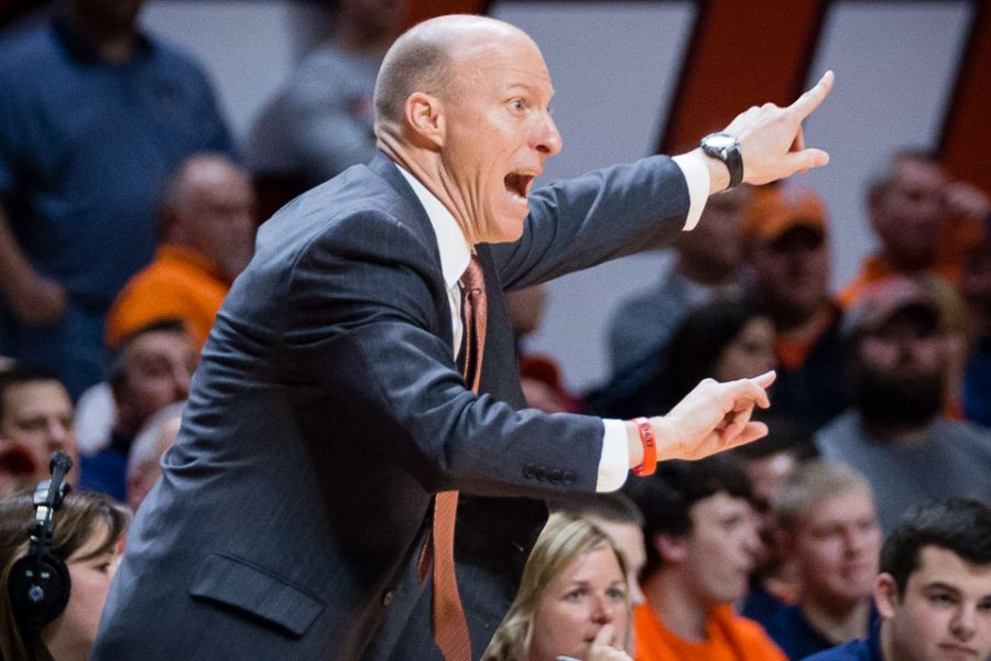 Illinois head coach John Groce shouts instructions to his team from the sideline during the game against Michigan at State Farm Center on Wednesday, January 11.