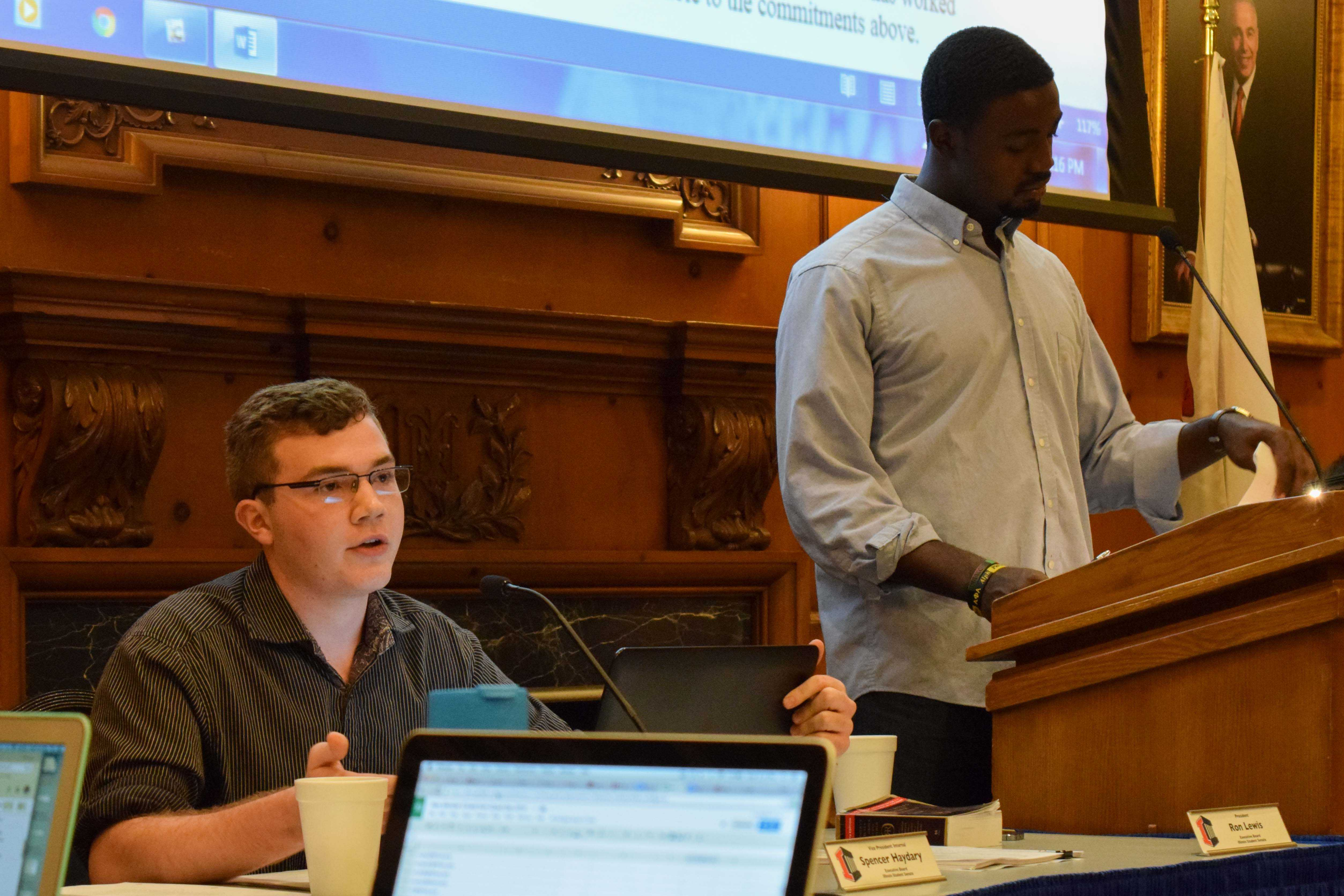 "Vice President, Spencer Haydary, of the Student Senate joins the debate on the issue regarding the implementation of ""consequences"" for registered organizations that offend minority cultures at their General Meeting held at the Illini Union on Wednesday, August 31, 2016."