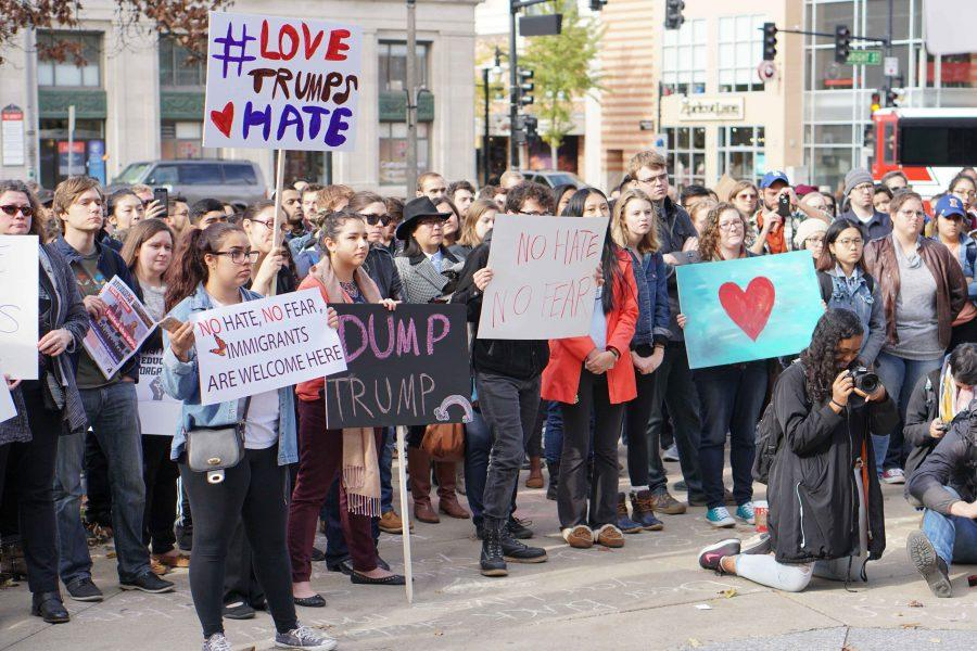 The+Not+My+President+Solidarity+Rally+was+hosted+by+the+Mexican+Student+Association+at+UIUC.+Many+students+protested+the+discriminatory+attitudes+towards+undocumented+individuals+during+the+presidential+election.