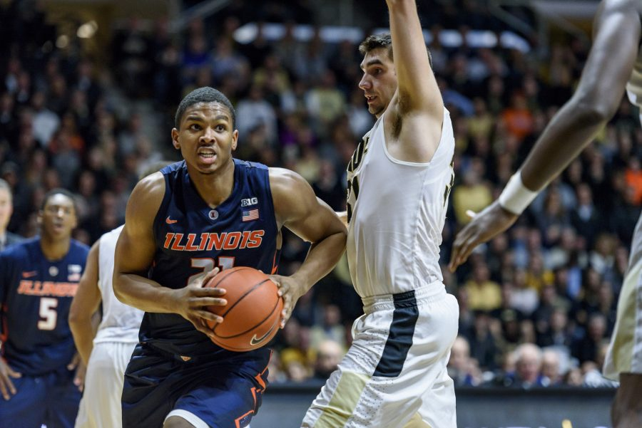 Malcolm Hill with the ball against Purdue on January 17th, 2017. The Illini lost 98-61