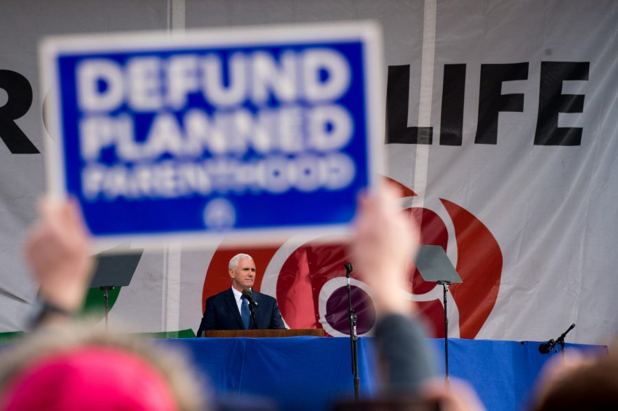 Vice President Mike Pence speaks in front of the thousands of pro-life supporters at a rally near the National Mall during the March for Life Friday, Jan. 27, 2017 in Washington, D.C.