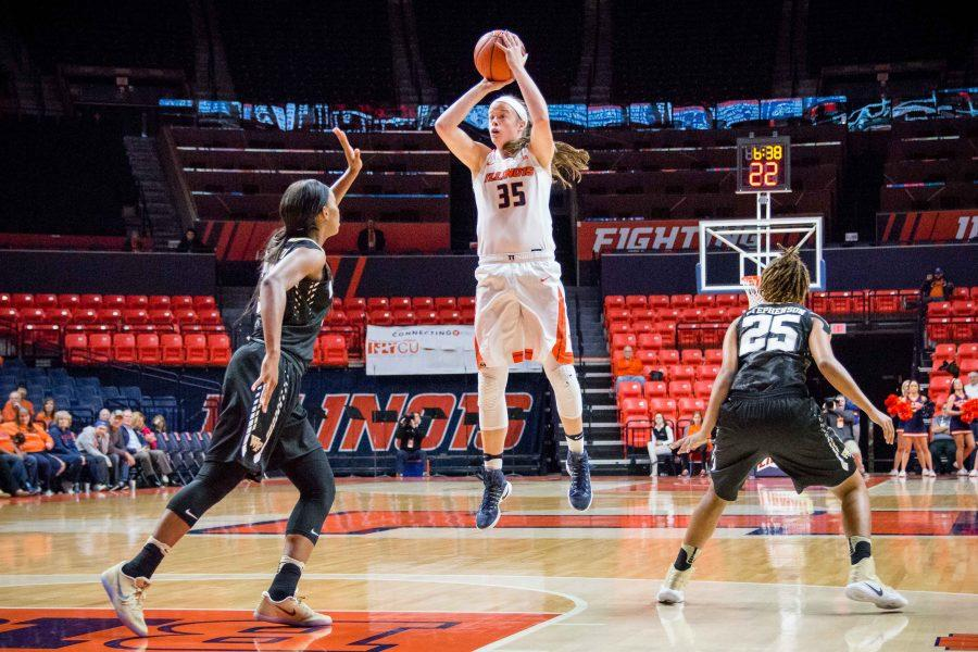 Illinois%E2%80%99+Alex+Wittinger+shoots+a+jumper+during+the+game+against+Wake+Forest+at+State+Farm+Center.+Wittinger+has+been+solid+for+the+Illini%2C+recording+her+seventh+double-double.+