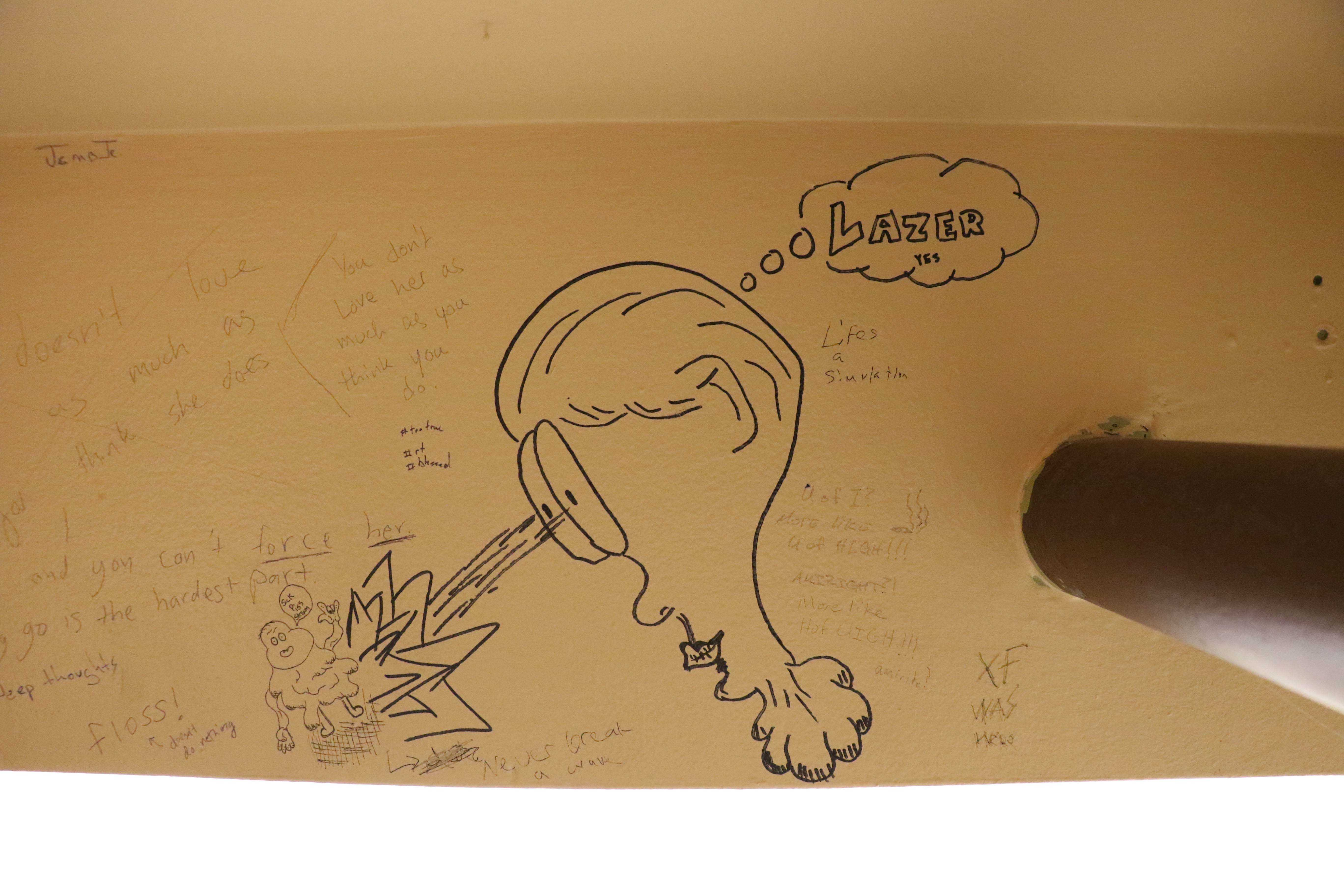 Graffiti on the bathroom wall of Espresso Royale on Daniel Street.