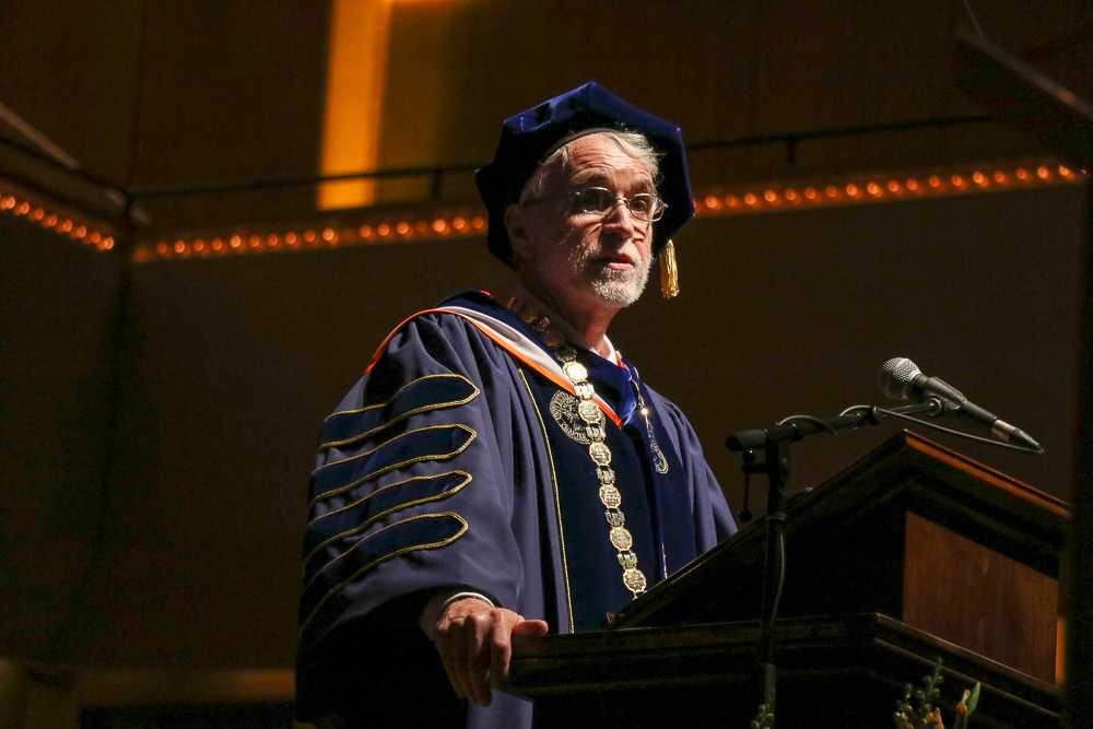 University of Illinois System President, Tim Killeen speaks at graduation. The UI System Board of Trustees recently approved the budget for fiscal year 2020, giving Kileen a $100,000 one-time reward for his work in fiscal year 2019. Kileen's total salary, combined with the reward for 2019 was $700,000.