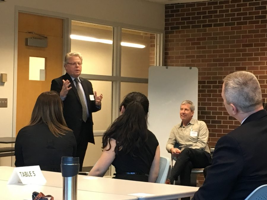 College of Engineering Dean Andreas Cangellaris speaks at the University's Innovation, Leadership and Engineering Entrepreneurship kickoff event on Friday.