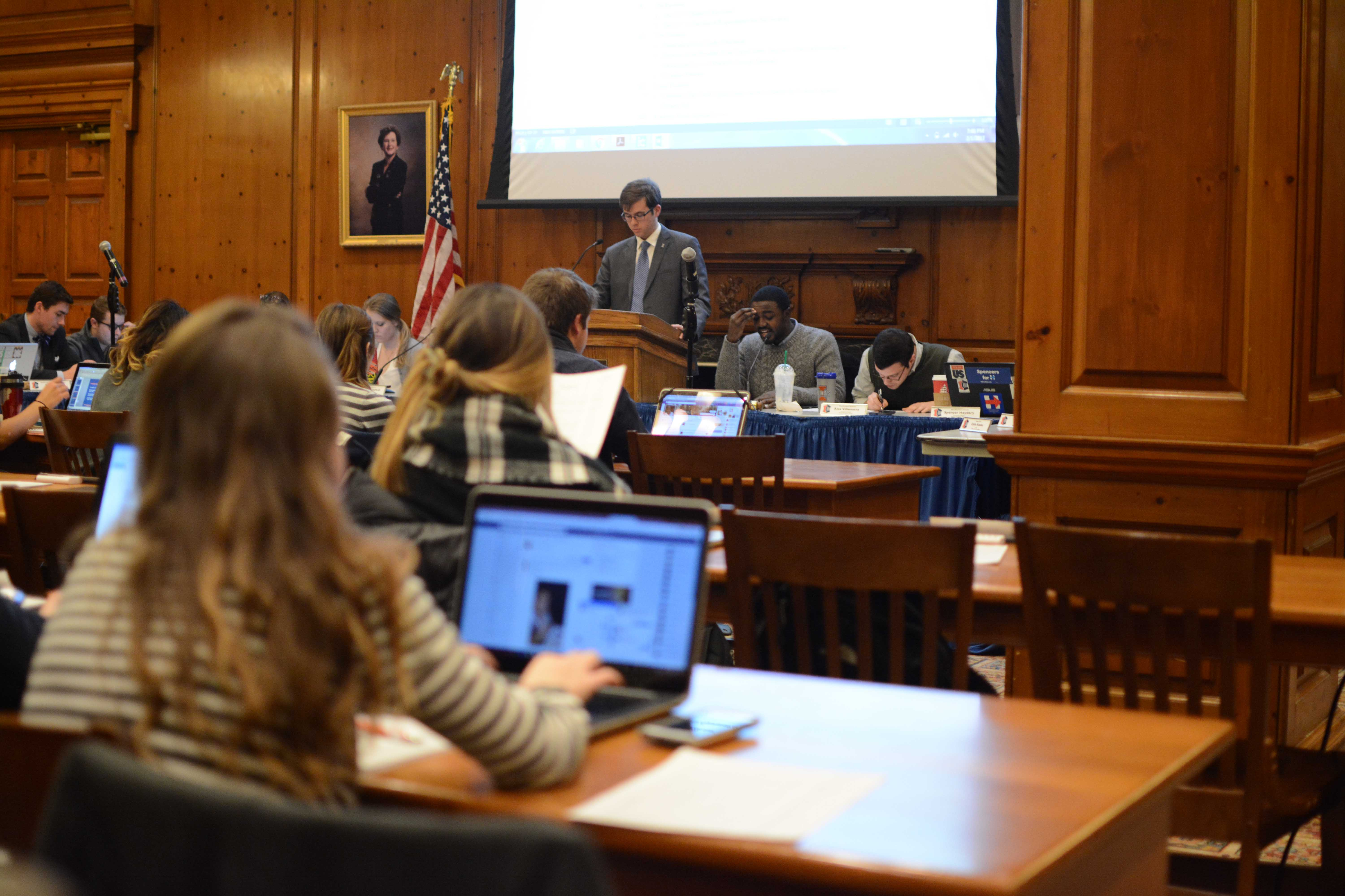 The Illinois Student Government meets in the Pine Room in the Illini Union. Director of the Senate Gabby Gendek announced her resignation at last night's meeting.