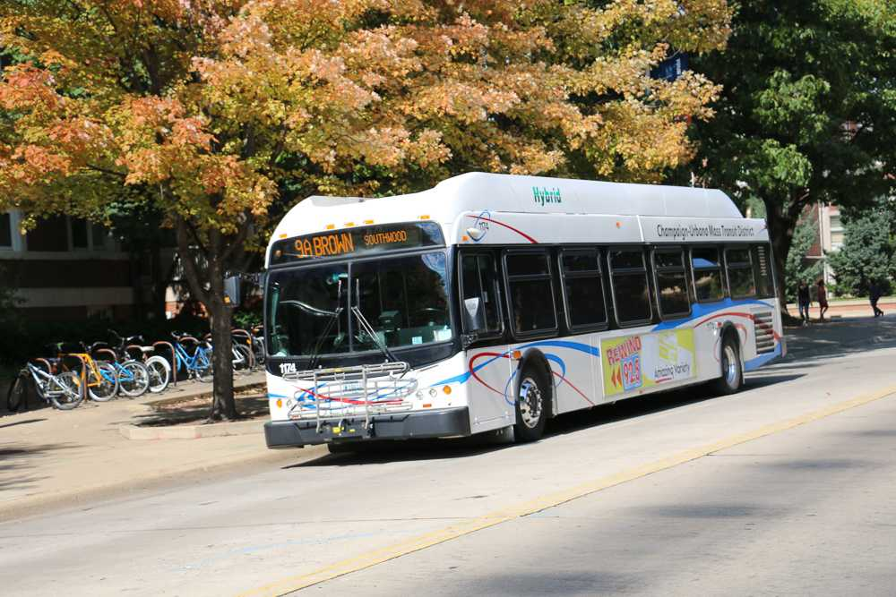 Bus 9A arrives at the bus stop in front of the Illini bookstore on Thursday, Oct 06, 2016.