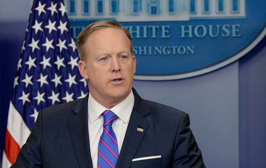 White House Press Secretary Sean Spicer speaks in the press briefing room of the White House during the daily briefing on Feb 14. in Washington, D.C.