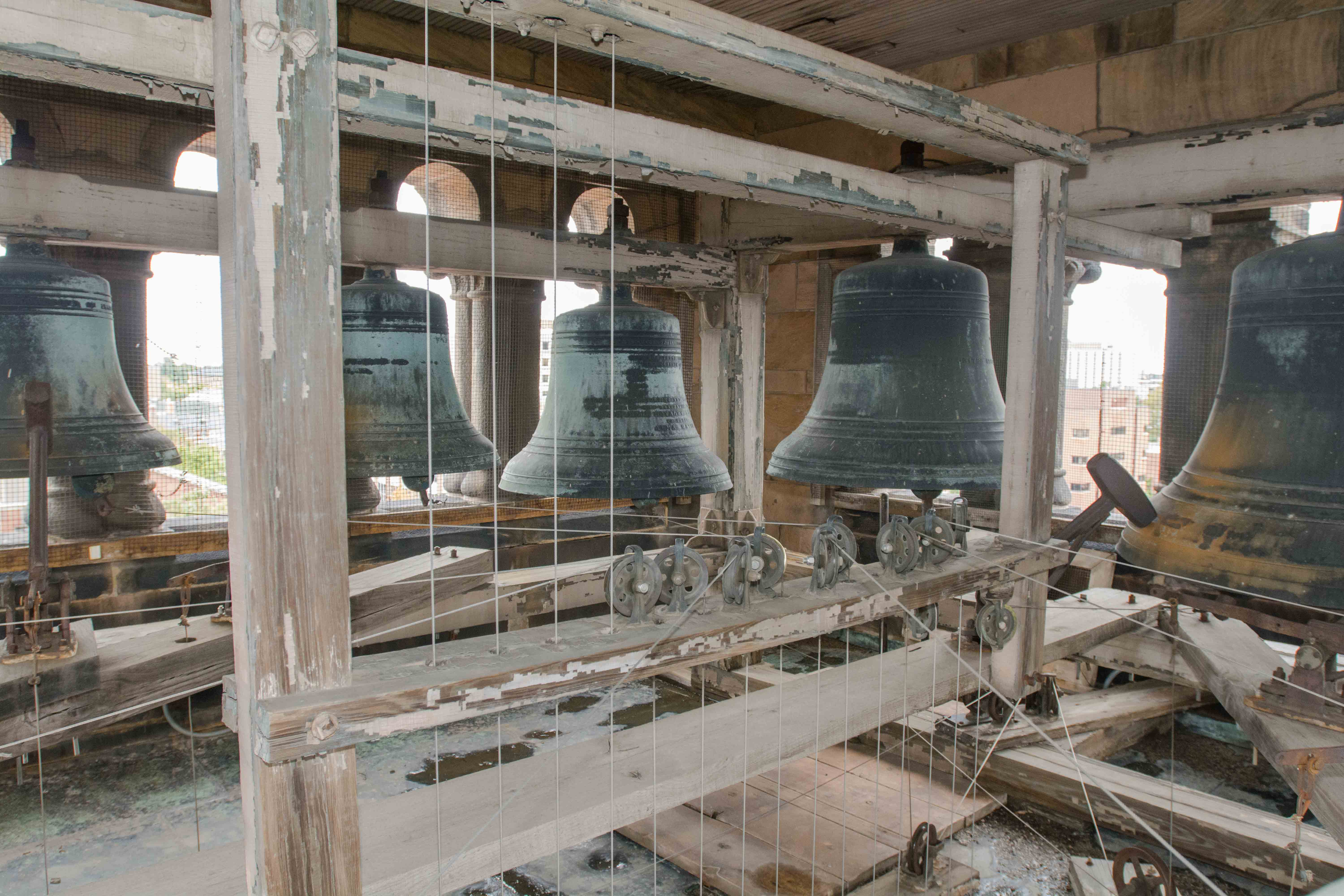 A view of the chime in the Altgeld Hall bell tower. The chime will play