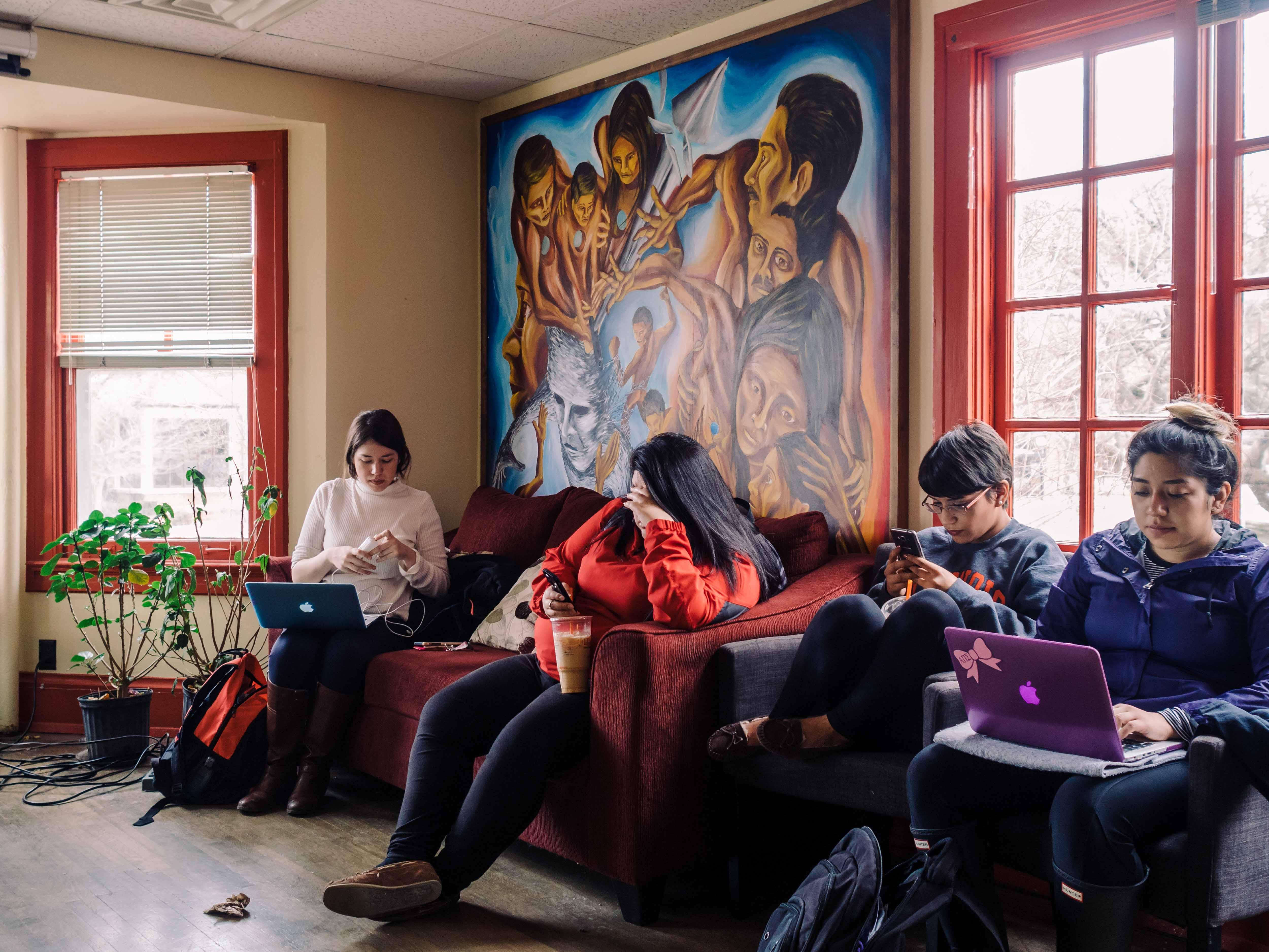 Students rest in La Casa Cultural Latina on Monday, Mar 07 2016.