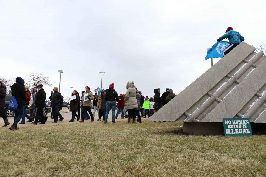 Students and residents of Champaign-Urbana gather at the Willard Airport in Champaign on Jan. 29th.