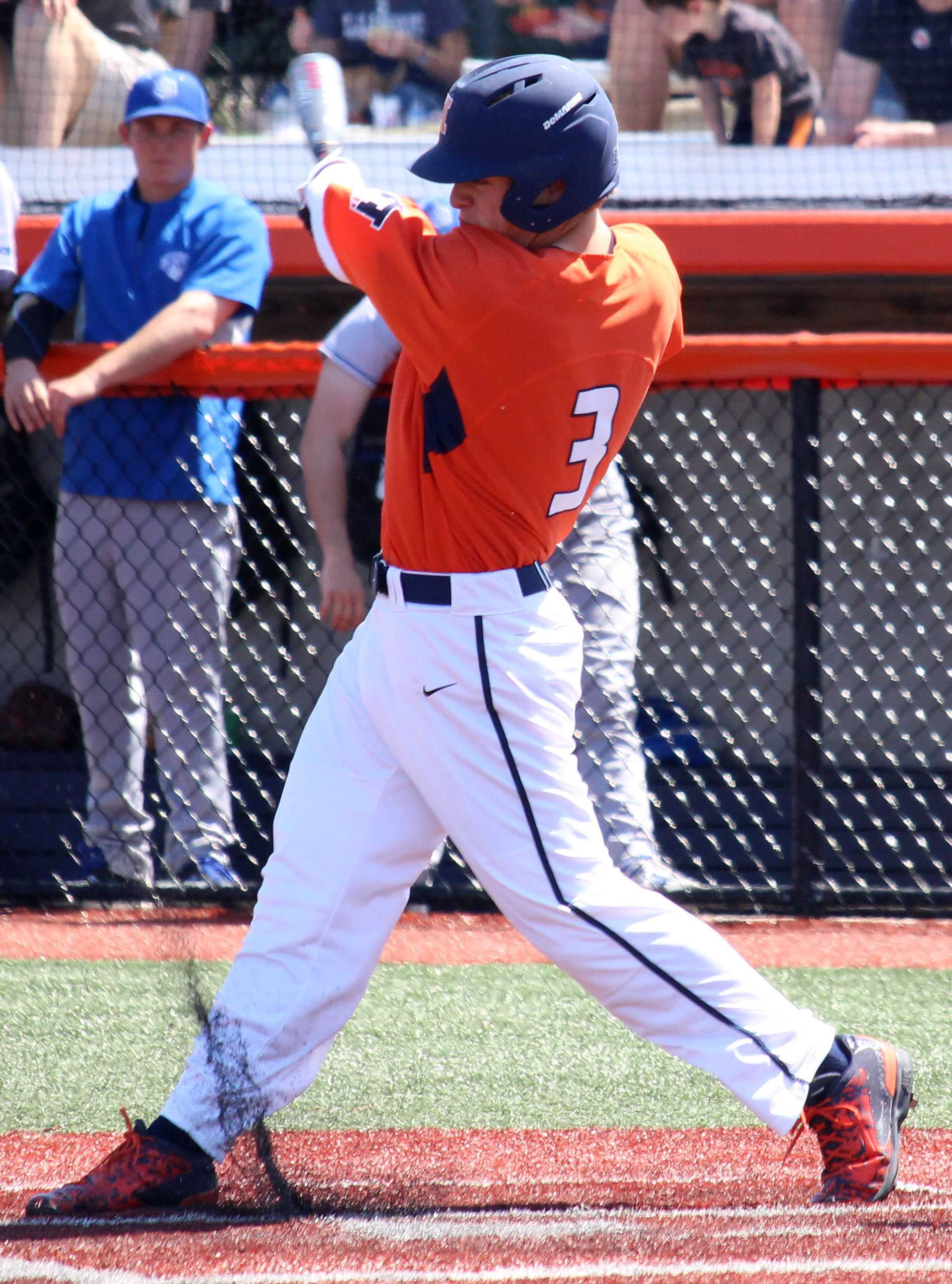 Jack Yalowitz takes a swing at Illinois Field on April 17, 2016. Illinois played against Saint Louis and won 6-2.