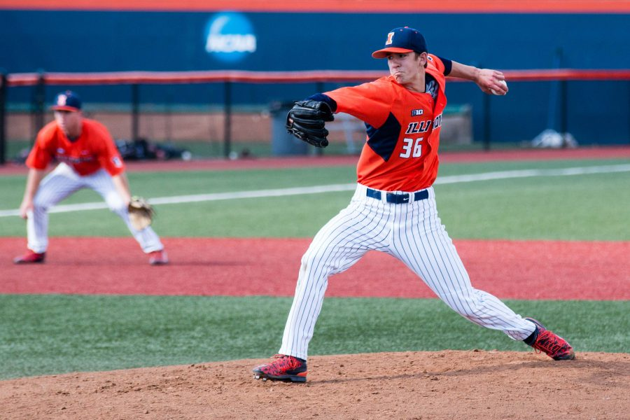 Illinois starting pitcher Doug Hayes delivers the pitch during game two of the series against St. Louis University at Illinois Field on Saturday, April 16. The Illini won 3-1.