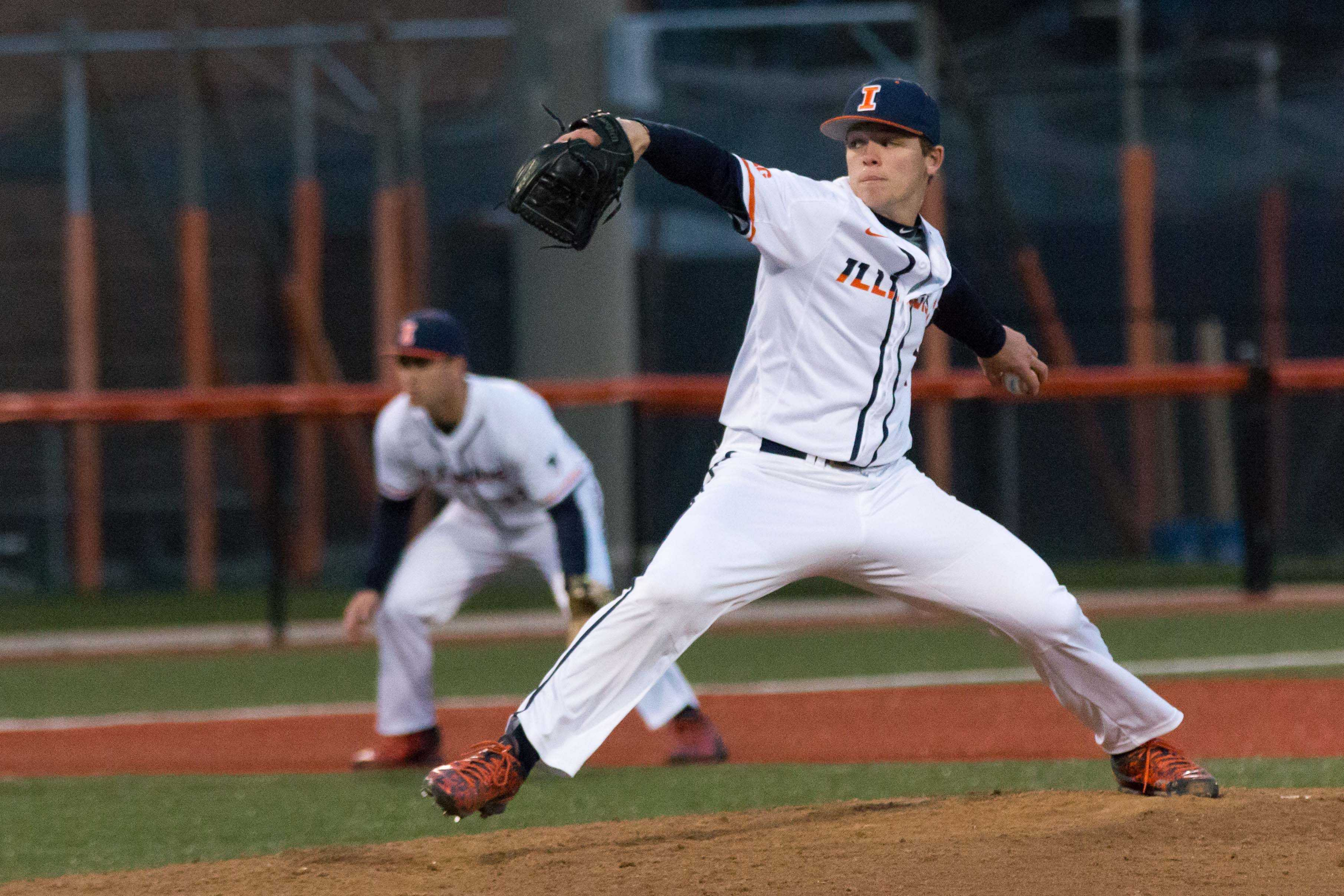 Illinois' Jack Yalowitz delivers the pitch on April 5. Yalowitz has not showed his youth, becoming one of the Illini's most reliable.