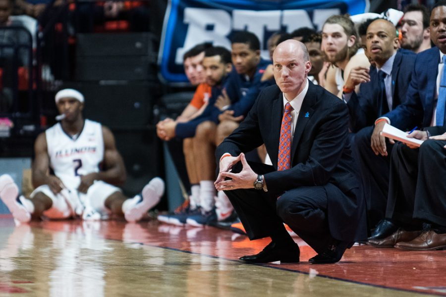 Illinois' head coach John Groce watches from the sideline during the game against Minnesota at State Farm Center on Saturday. Groce's eight-man rotation helped Illinois beat Northwestern in Evanston on Tuesday.