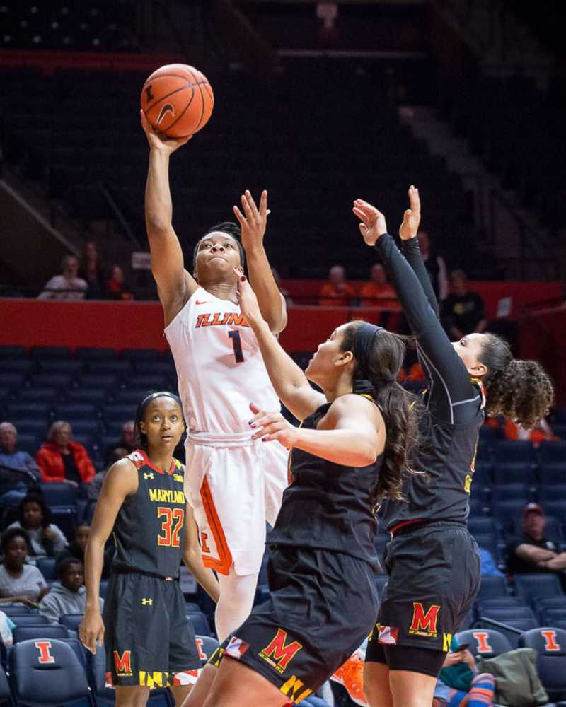 Illinois' Brandi Beasley (1) goes up for a layup during the game against Maryland at State Farm Center on Thursday, January 26.