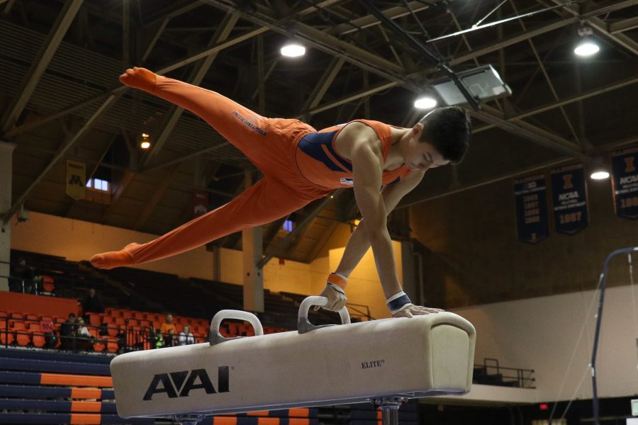 Illinois%E2%80%99+Brandon+Ngai+works+the+pommel+horse+in+the+meet+against+Minnesota+at+Huff+Hall+on+Jan.+28.