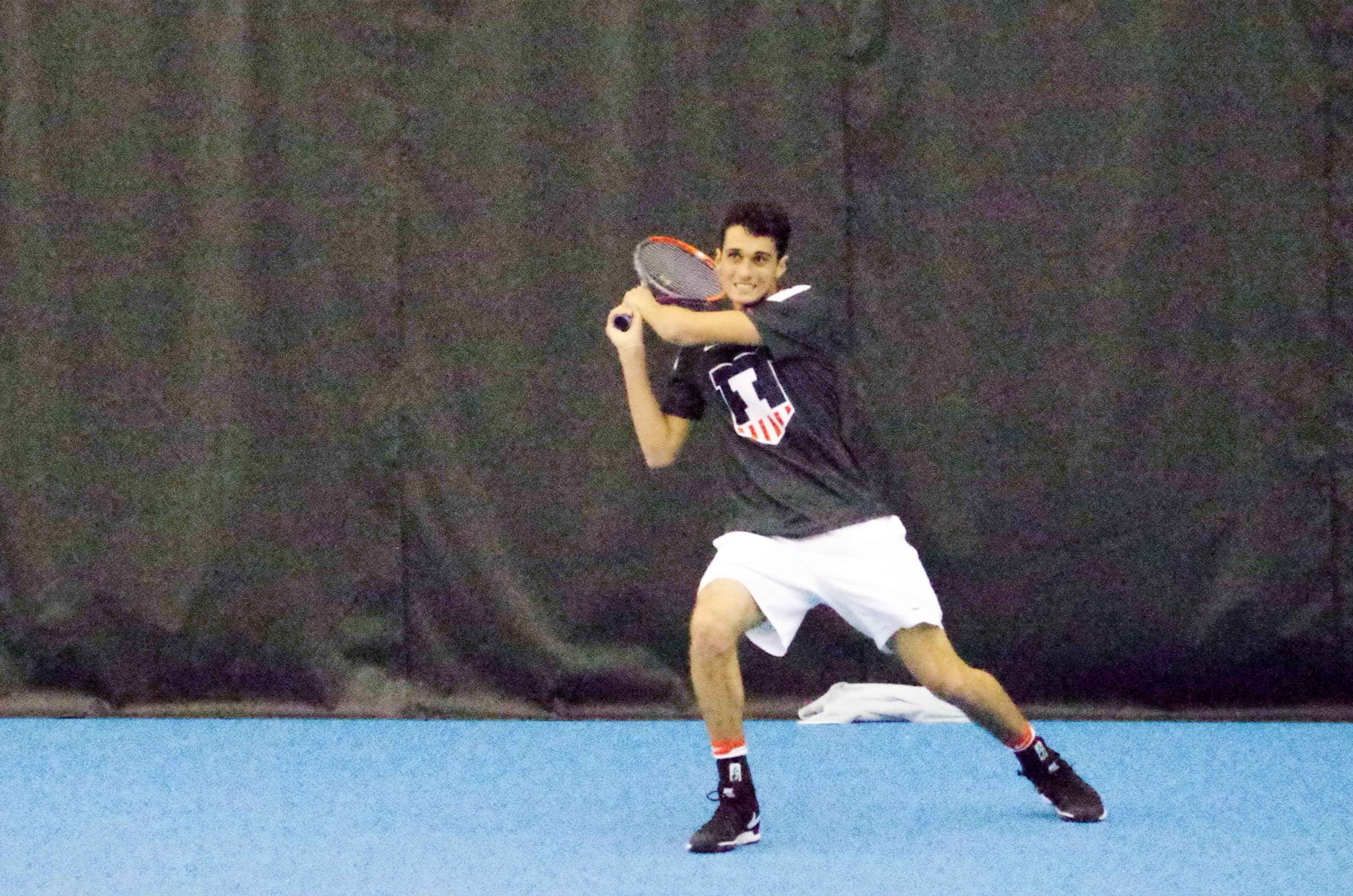 Illini's Gui Gomez plays against University of North Carolina at the Atkins Tennis Center on Friday, Fe. 4th.