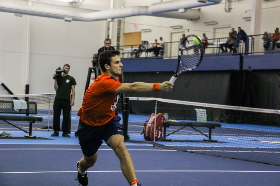 Illinois%27+Aleks+Vukic+volleys+against+Kentucky+on+Friday%2C+Feb.+26+at+the+Atkins+Tennis+Center.++