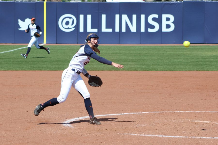 Illinois%E2%80%99+Breanna+Wonderly+delivers+the+pitch+against+Nebraska+at+Eichelberger+Field+on+April+2+In+this+year%E2%80%99s+I-75+Challenge%2C+the+senior+started+off+the+weekend+pulling+out+a+five-inning+shutout+against+Georgia+State.+